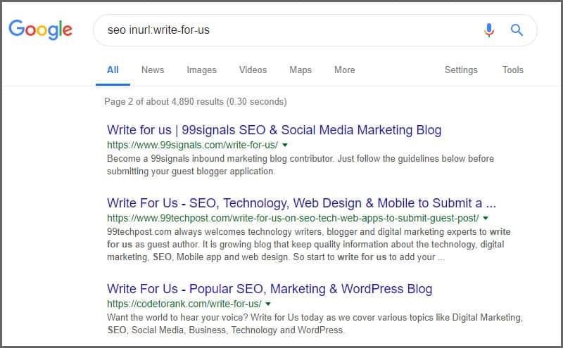 Google Search Guest Blogging