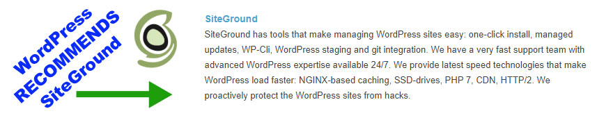 WordPress Recommends SiteGround