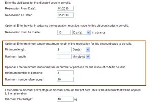 New discount code rules makes it easier to set up bed & breakfast bookings and vacation rental bookings.