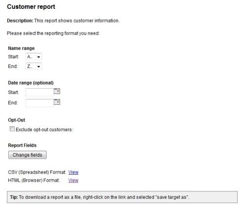 Customer Report Options