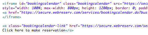 HTML Code Booking Calendar Link