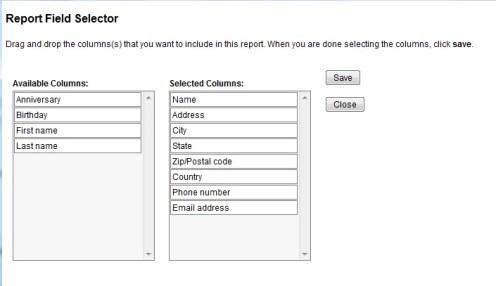 Report Field Selector
