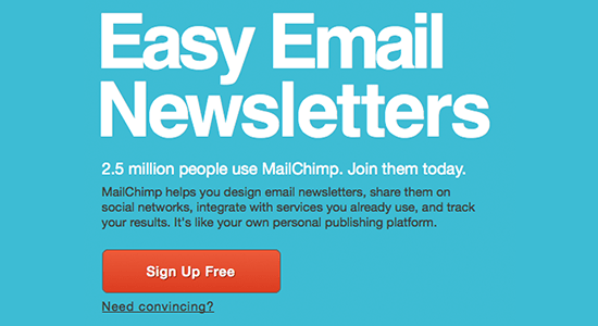 Mailchimp call to action