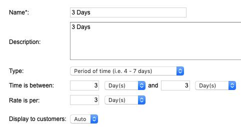 Rental Pricing - 3 Days