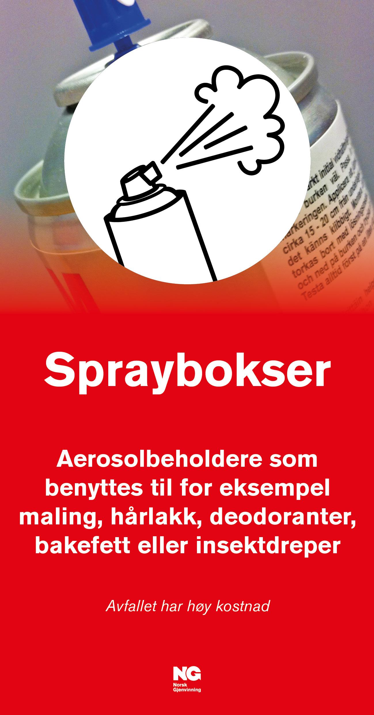 Informasjonsskilt om avfallstypen Spraybokser