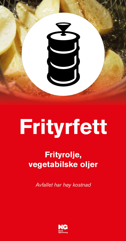 Informasjonsskilt om avfallstypen Frityrfett