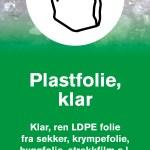 Informasjonsskilt om avfallstypen klar Plastfolie 22x42 cm