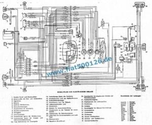 Connection diagram Fiat 126, copy A3 format  Fiat 500