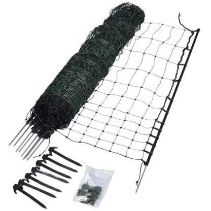 — 077298 — Gallagher Afrasteringsnet voor kippen en gevogelte. Compleet en eenvoudig te verbinden met meerdere netten. Lengte 25m, 9 palen. —