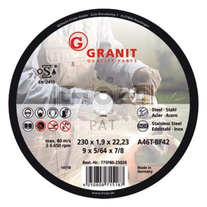 — 775F80-11516 — recht Ø115 D=1,5 Ø22,2 — GRANIT
