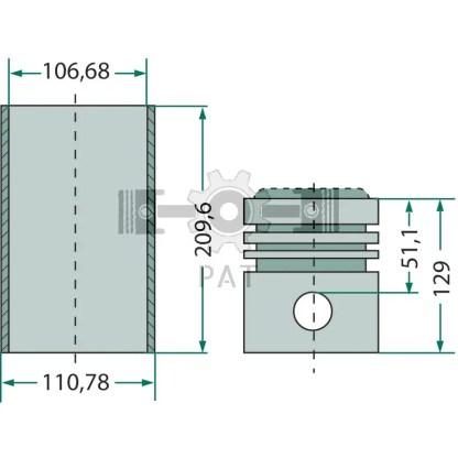 — 15405163 — Fordson en Ford,BSD 329, BSD 438,Zuiger- en cilinderset, 15405163 —