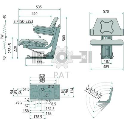 — 24000030 — ● geveerde zitting met veerinstelling voor een gewicht van 50 tot 120 kg,  ● veerweg 80 mm, vering m —