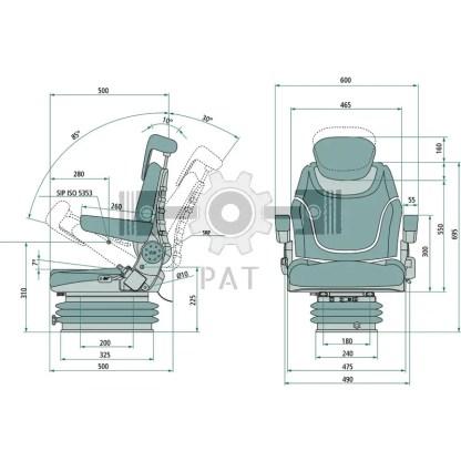 — 240920050 — ● schaarvering met hydraulische schokdemper, ● gewichtsinstelling van 50 tot 130 kg , ● veerweg 100 —