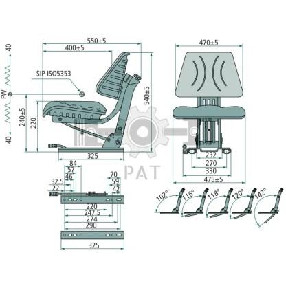 — 240920058 — • 269 mm railafstand • console met 5-voudige neigverstelling • veerweg 100 mm • manuele gewichtsinst —