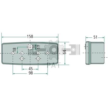 — 4552SE 997111021 — achter-, rem- en knipperlicht, met verwisselbaar glas, 4 gaten voor bevestigingsbouten M5,  zonder v —
