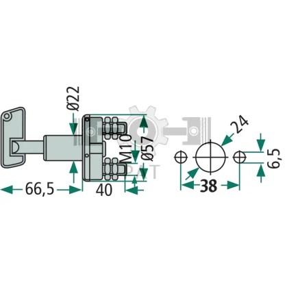— 4556EK 002843001 — voor accu- en ontstekingsstroom, schakelsleutel rood, naar keuze schakeling voor + of - kabel, schak —