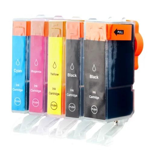 Inktcartridge / Alternatief Spaarset 5  Patronen XL comp voor Canon PGI-520 CLI-521 | Canon Pixma IP3600/  IP4600/ IP4700/ MP540/ MP550/ MP550/ MP56