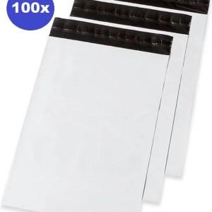 100 x Verzendzakken plastic - kleding - webshop 355 x 450 x 50 mm (70% gerycicleerde film)