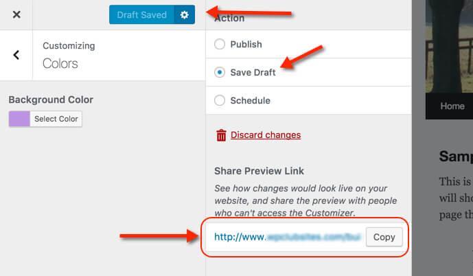 screenshot of WordPress 4.9 saving design drafts