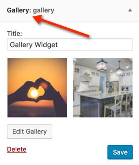 screenshot of WordPress 4.9 Gallery Widget