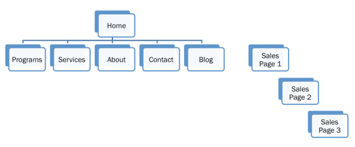 diagram of a main website with 3 sales letter pages along side of it