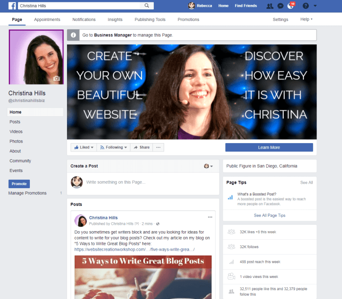 Facebook Fan Page for Christina Hills