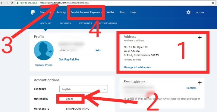 paypal account in Ghana screenshot