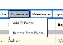 GoDaddy dropbox option for Organize with sub option Add to Folder