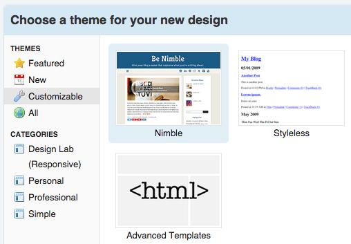 Best blogging platform - TypePad interface