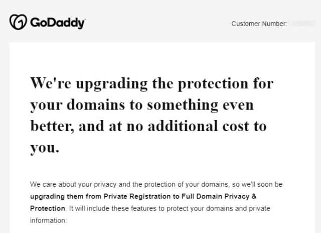 Screenshot of GoDaddy whois privacy email