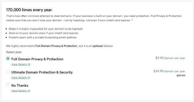 GoDaddy privacy options during checkout