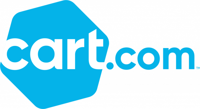 Logo for Cart.com has cart in white letters on a blue hexagon and .com in blue letters on a white background