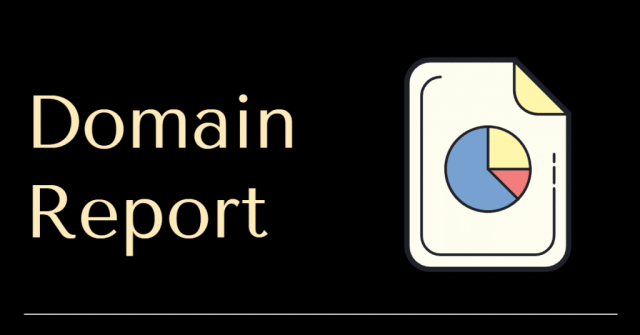"""Picture of a report pie chart and the words """"domain report"""""""