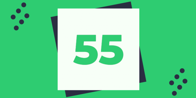 The number 55 in green type on a white square, on a green background