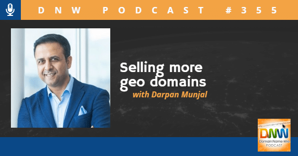 """Picture of Darpan Munjal with the words """"Selling more geo domains"""""""