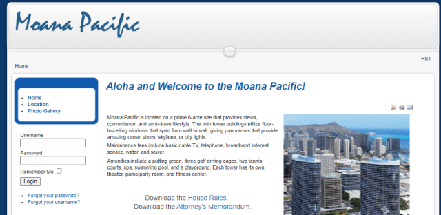Screenshot of moanapacific.org from 2016 showing a picture of the condos and a log in box
