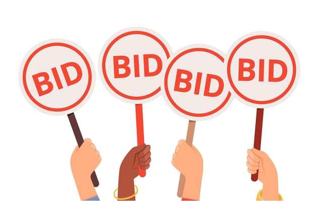 """Illustration with four hands holding bidding cards that say """"bid"""""""