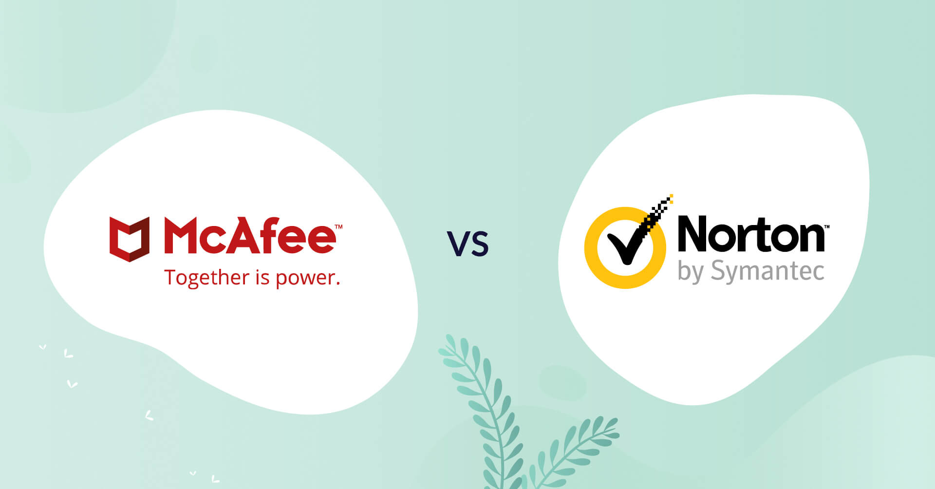 mcafee logo vs norton logo antivirus comparison header for how to choose article