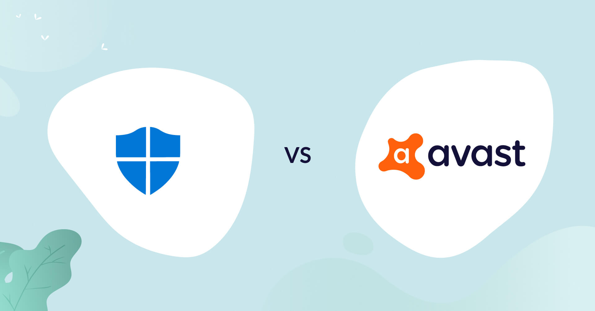 windows defender logo vs avast logo antivirus comparison header for how to choose article