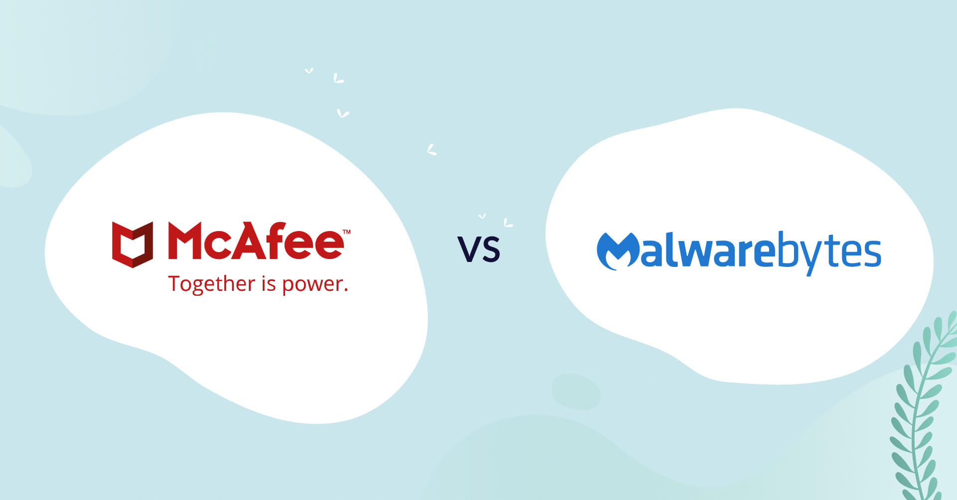 mcafee logo vs malwarebytes logo antivirus comparison header for how to choose article