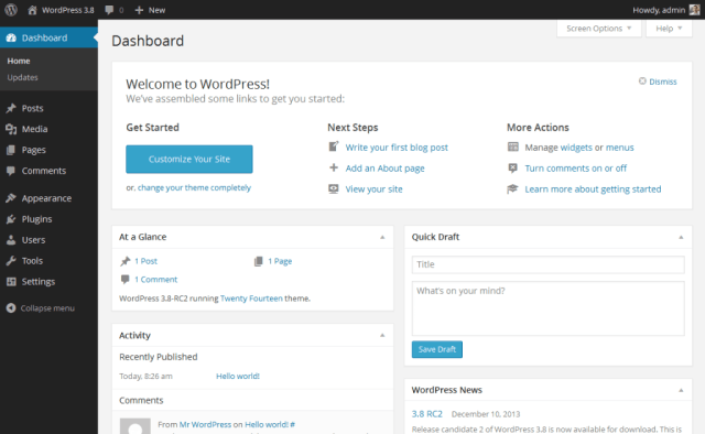 WordPress dashboard (backend)