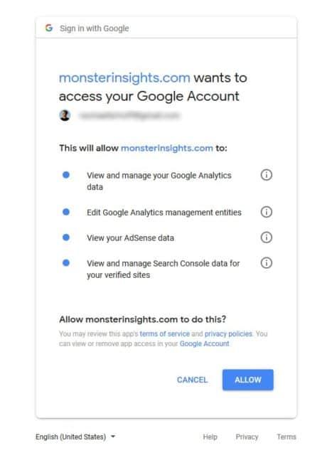 Allow plugin to add Google Analytics to WordPress