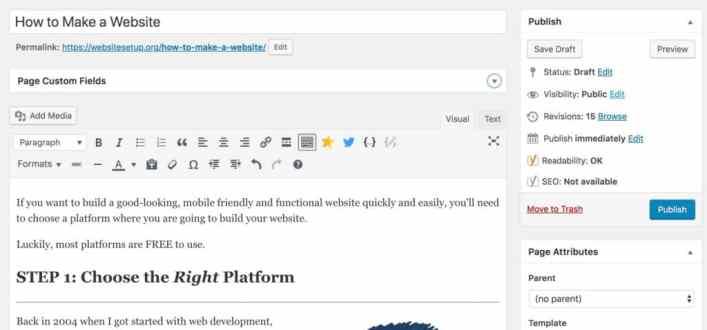 WordPress editing a page