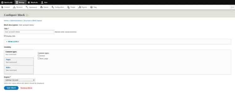 menu blok konfigurasi drupal