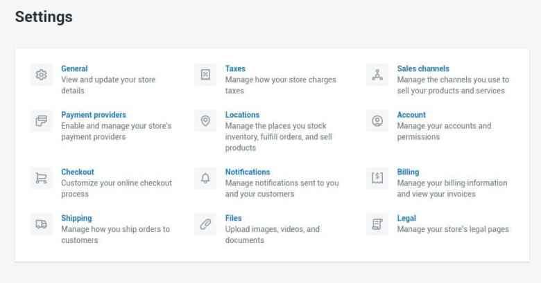 Shopify settings