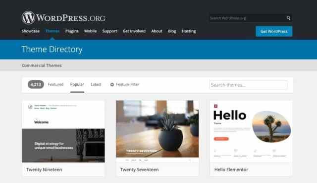 WordPress.com vs WordPress.org: themes