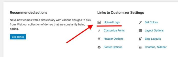How to create a website: upload logo
