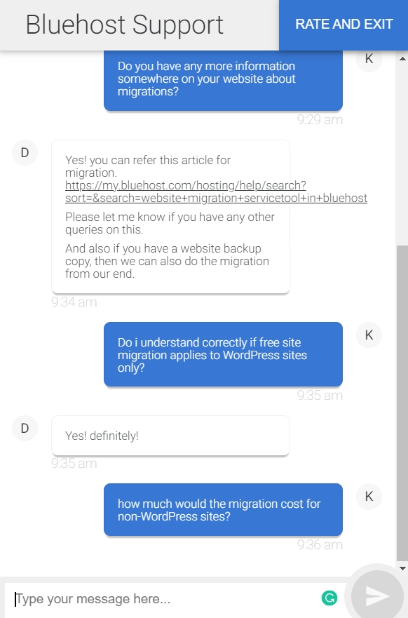 Bluehost Customer Support live chat example