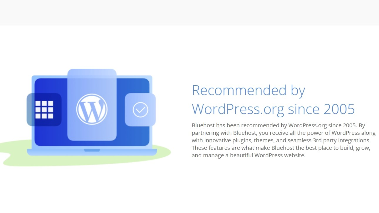 Bluehost official recommendation by WordPress.org