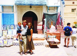 Courtesy of Tim Harig/Tim Harig, an adjunct professor, and his wife and professor Nabila Harig, a native Tunisian, pose in Kairouan, a city in Tunisia, in 1999.
